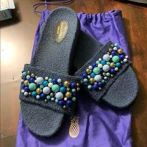 Aquazzura Bon Bon navy blue sandals